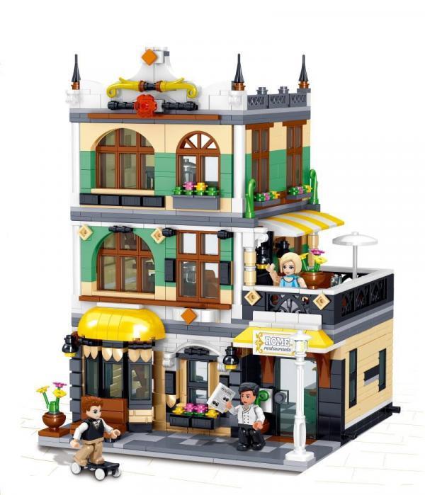 Zhe Gao QL0936 Italienisches Restaurant Klemmbausteine Modular Haus City NEU